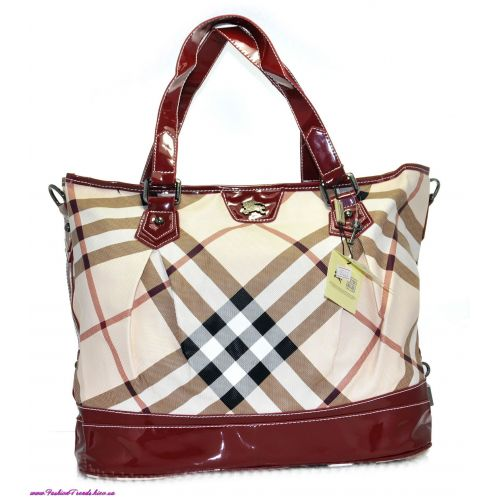 Женская сумка Burberry Basket вишневая