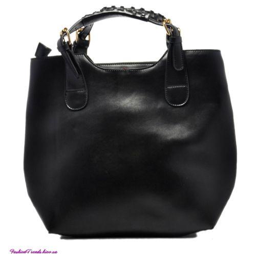 Женская сумка Zara Shopper кожаная черная
