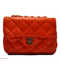 Женская сумка Chanel Mini Flap оранжевая