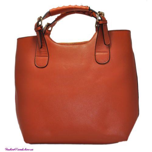 Женская сумка Zara Shopper кожаная оранжевая
