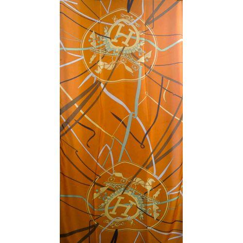 Шелковый шарф Hermes ленты оранжевый