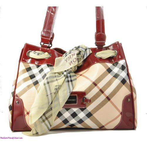 Женская сумка Burberry Corners вишневая с платочком