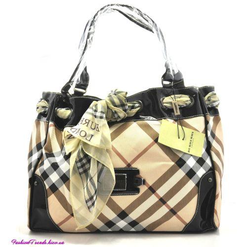 Женская сумка Burberry Corners черная с платочком