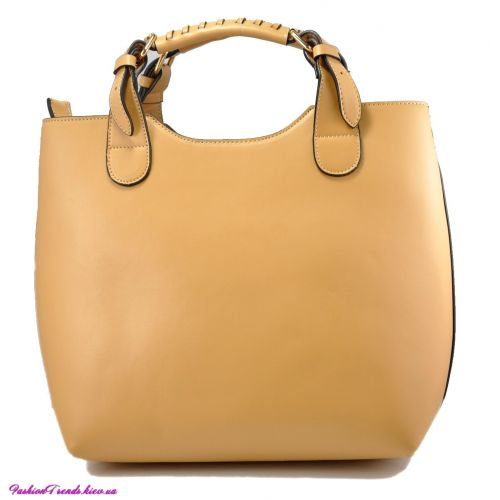 Женская сумка Zara Shopper кожаная светло-бежевая
