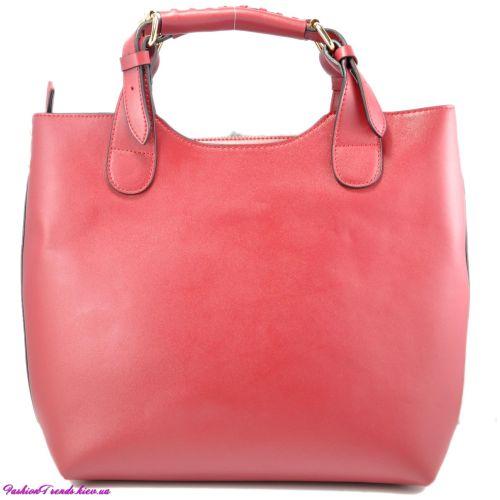Женская сумка Zara Shopper кожаная бордовая