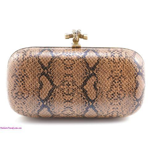 Клатч Bottega Veneta Plaster Lace Python Knot бронзовый