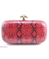 Клатч Bottega Veneta Plaster Lace Python Knot красный