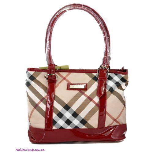 Женская сумка Burberry Check New бордовая