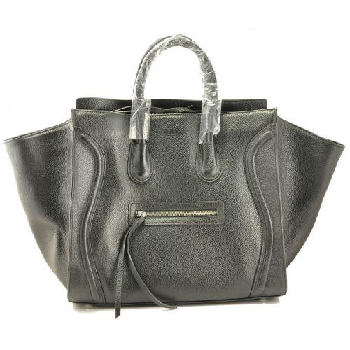 Женская сумка Celine Boston Maxi кожаная черная