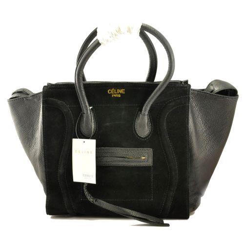 Женская сумка Celine Boston Maxi черная с замшем