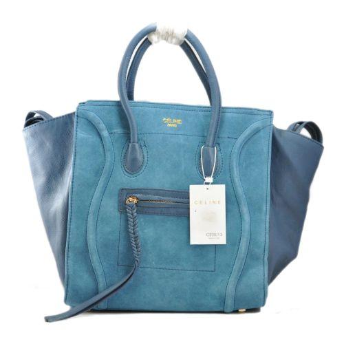 Женская сумка Celine Boston Maxi синяя с замшем