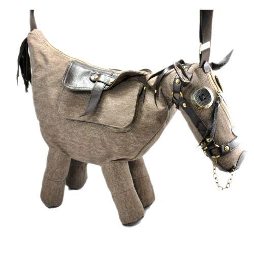 Сумка - лошадка Sad Horse серо-бежевая