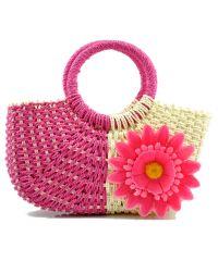 Пляжная плетеная дизайнерская сумочка ромашка розовая