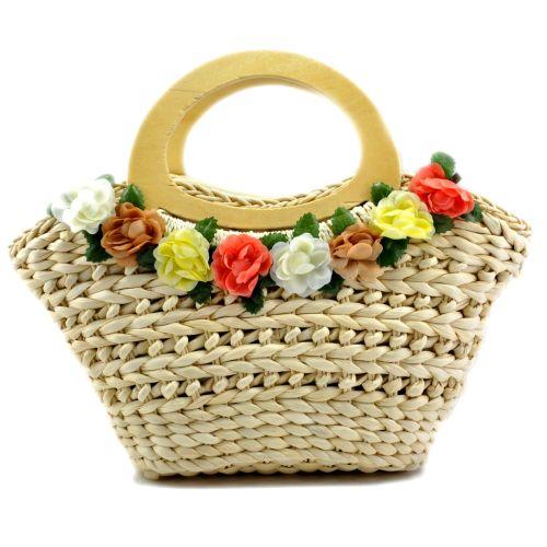 Женская сумка hand-made бежевая с венком