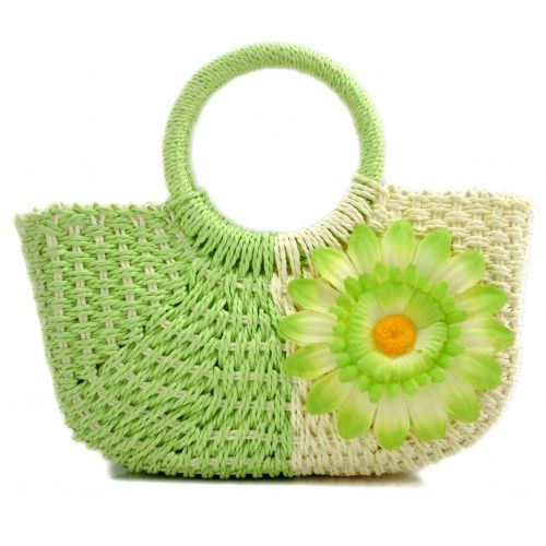 Пляжная плетеная дизайнерская сумочка зеленая