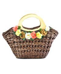 Женская сумка hand-made коричневая с венком