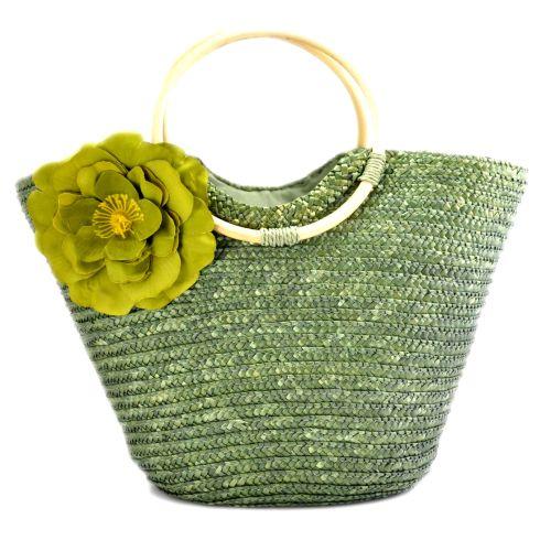 Женская сумка hand-made зеленая с чайной розой