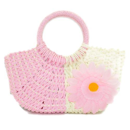 Пляжная плетеная дизайнерская сумочка розовая