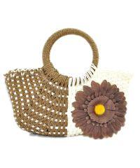 Пляжная плетеная дизайнерская сумочка ромашка коричневая
