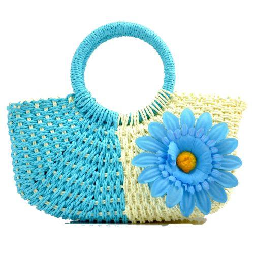 Пляжная плетеная дизайнерская сумочка голубая