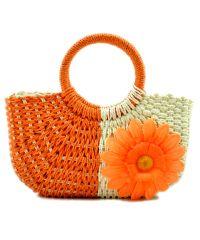 Пляжная плетеная дизайнерская сумочка оранжевая