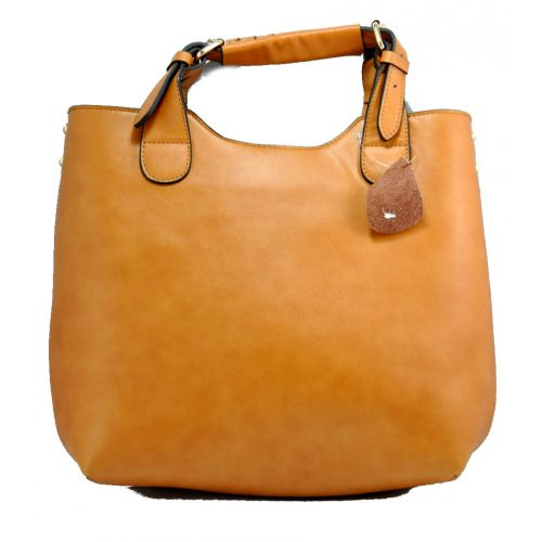 Женская сумка Zara Shopper New кожаная рыжая