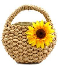Пляжная плетеная дизайнерская сумочка коричневая