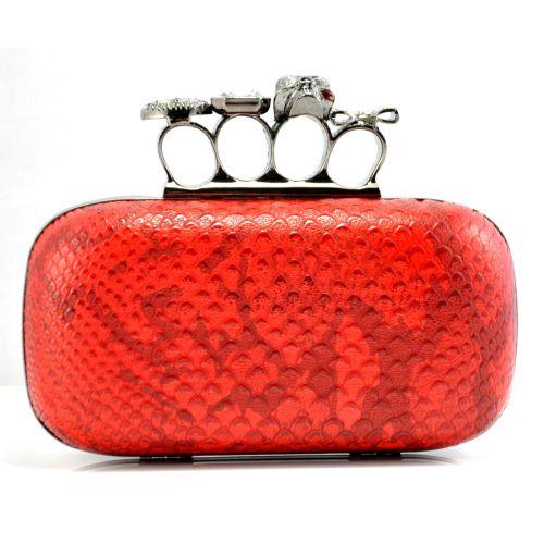 Клатч Alexander McQueen Knuckle Box Clutch красный питон