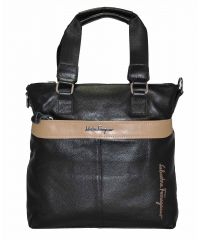 Мужская сумка Salvatore Ferragamo черная с бежевым
