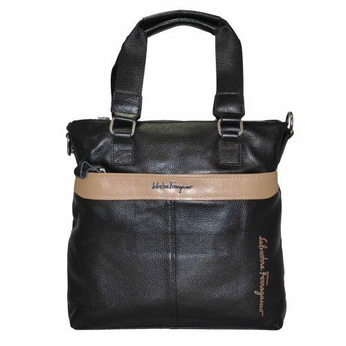 Мужская сумка черная с бежевым