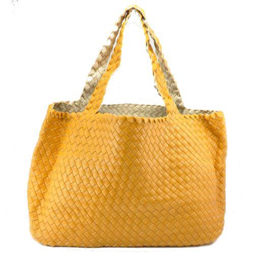 Женская сумка Bottega Veneta Cabat оранжевая двухсторонняя