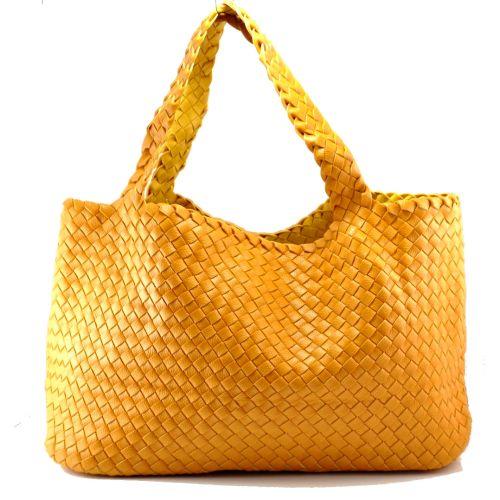 Женская сумка Bottega Veneta Cabat желтая двухсторонняя