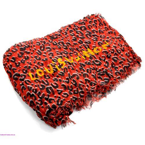Шарф Louis Vuitton Leopard Stole красный