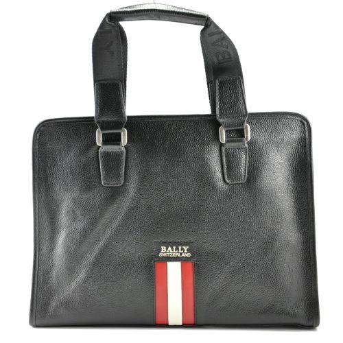 Портфель Bally черный с бело-красной полосой