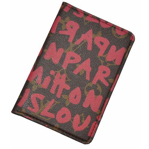 Обложка для паспорта Louis Vuitton графити розовая