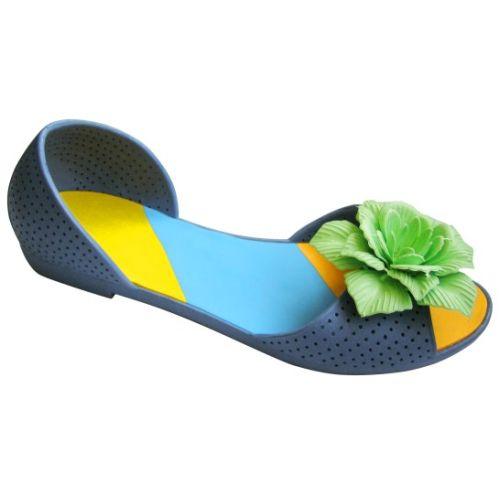 Синие балетки с зеленым цветочком