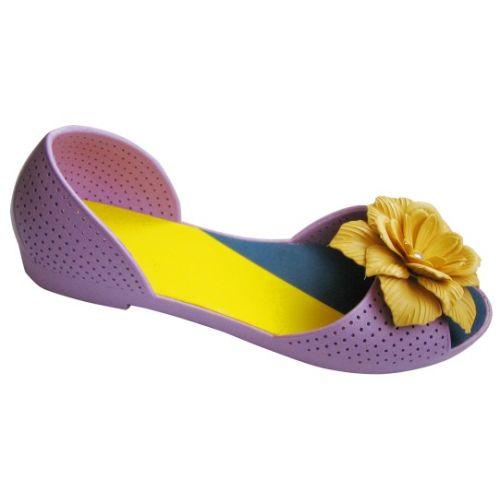 Фиолетовые балетки с персиковым цветочком