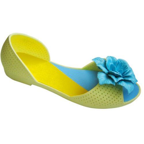 Салатовые балетки с голубым цветочком