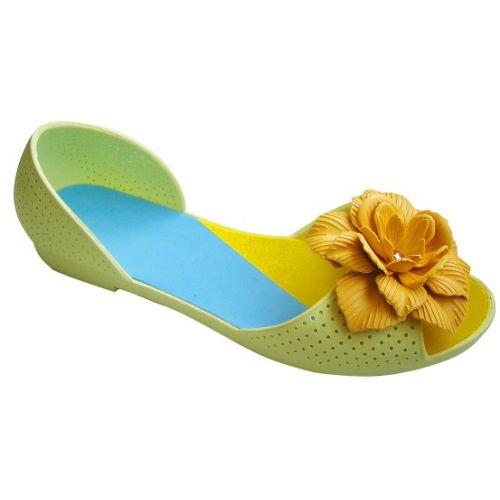 Салатовые балетки с желтым цветочком