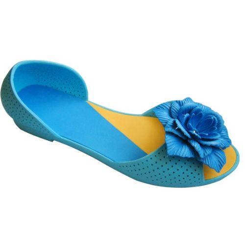 Голубые балетки с голубым цветочком