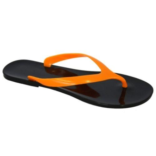 Черные вьетнамки с оранжевым верхом