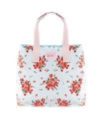 Пляжная сумка Valex голубая клетка с цветами
