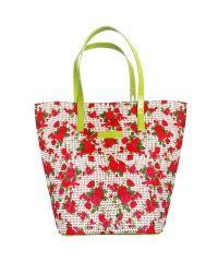 Плетеная пляжная сумка Valex корзинка красная с салатовым