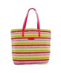 Плетеная пляжная сумка Valex ЗигЗаг малиновая