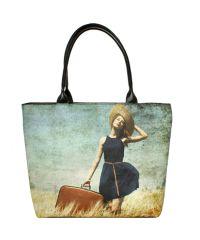 Черная сумка Valex девушка с чемоданом
