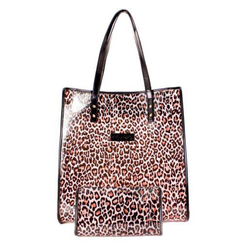 Леопардовая пляжная сумка Valex с косметичкой