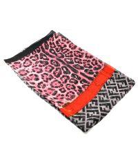 Шелковый шарф F Leopard розовый