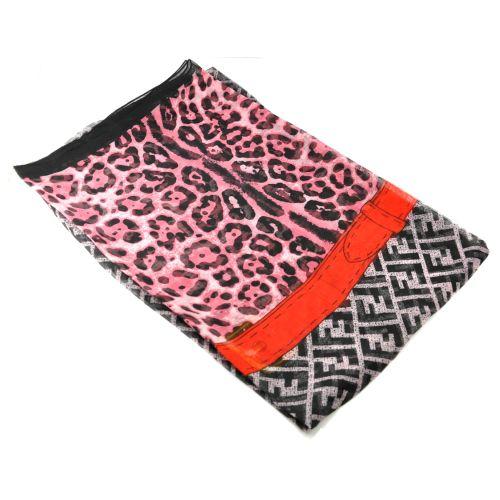 Шелковый шарф Fendi Leopard розовый