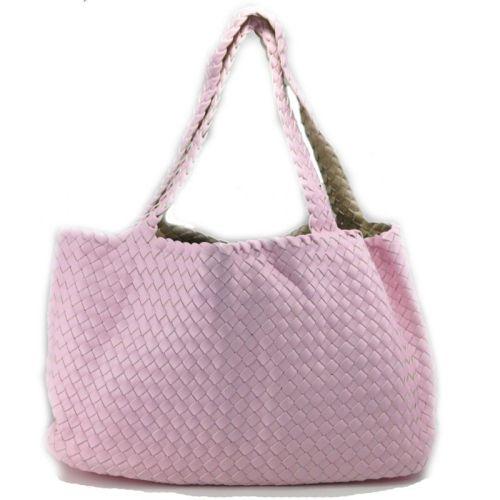 Женская сумка Bottega Veneta Cabat розовая двухсторонняя