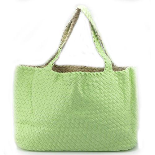 Женская сумка Bottega Veneta Cabat салатовая двухсторонняя